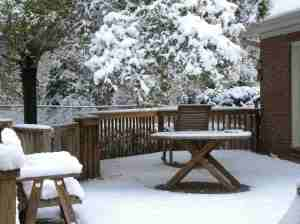 Here is the Back Deck-Look at the Snow